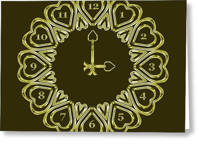 When The Time Stopped - 3 O Clock - Dark Olive Greeting Card