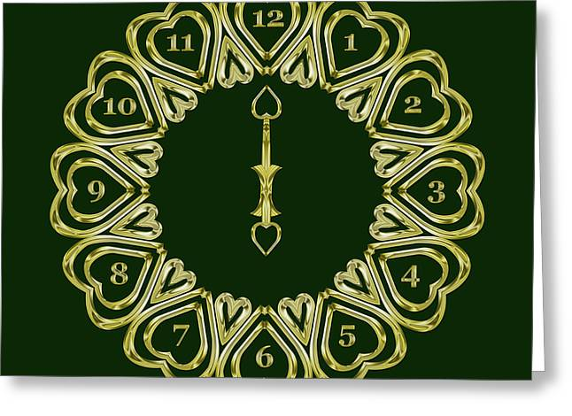 When The Time Stopped - 6 O Clock - Dark Green Greeting Card