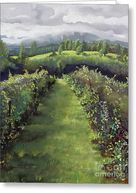 Greeting Card featuring the painting When The Vines Rest At Otts Farms And Vineyard by Jan Dappen