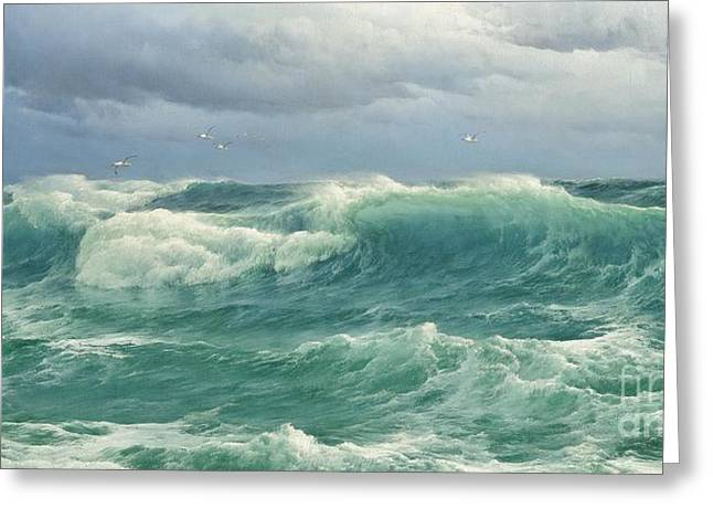 When The Wind Blows The Sea In Greeting Card by Celestial Images