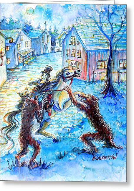 Greeting Card featuring the painting When Werewolves Attack by Heather Calderon