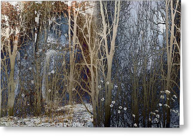 When Winter Stays Greeting Card by Ron Jones
