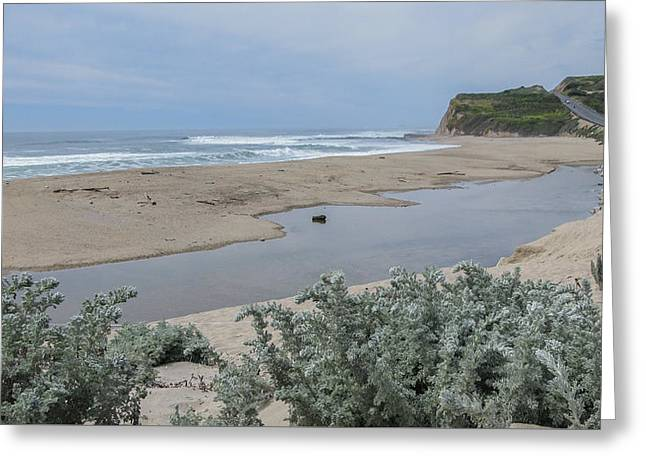 Where Scott Creek Meets The Ocean Greeting Card
