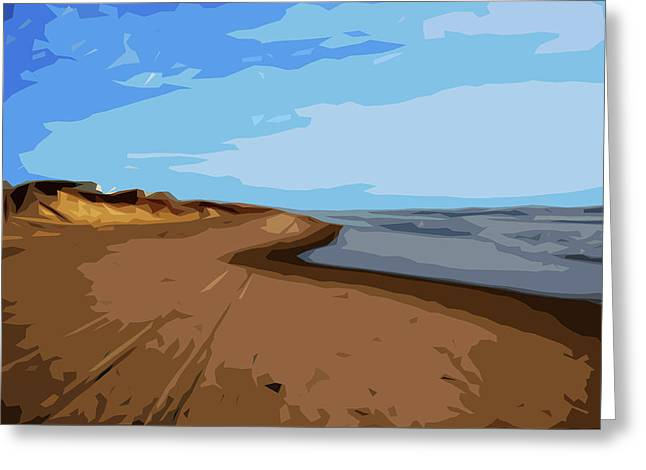 Where Sea Meets Sky Greeting Card by Linda Mesibov