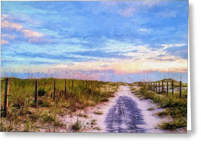 Where The Blacktop Ends - A Digital Rendition Greeting Card by JC Findley