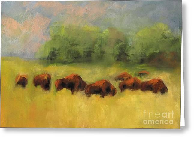 Where The Buffalo Roam Greeting Card by Frances Marino
