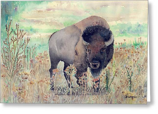 Where The Buffalo Roams Greeting Card by Arline Wagner