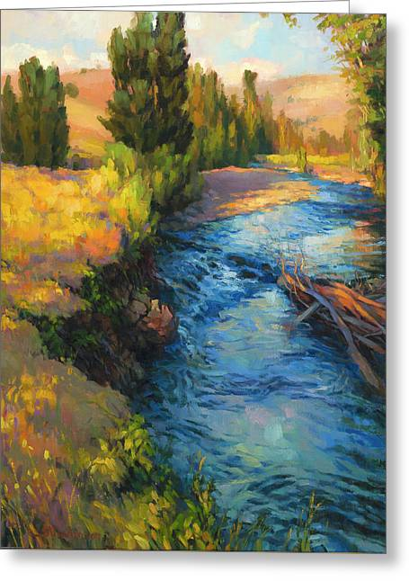 Greeting Card featuring the painting Where The River Bends by Steve Henderson