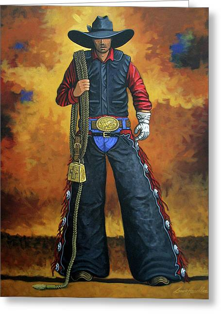 Bull Rider Greeting Cards - Wheres My Ride Greeting Card by Lance Headlee