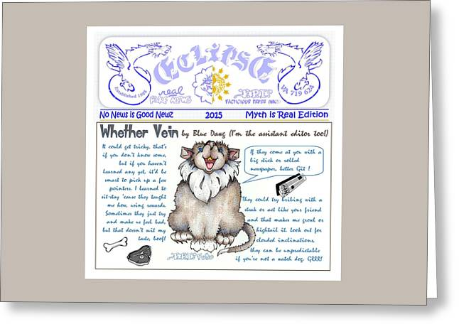 Real Fake News Blue Dawg Column Greeting Card