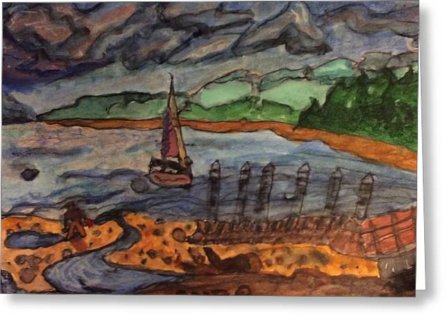 Whidbey Harbor Greeting Card by Anne Marjorie Erickson