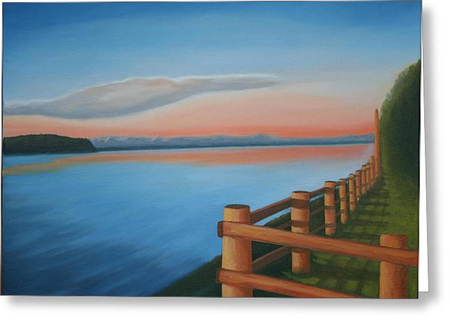 Whidbey Island Sunset Greeting Card by Stephen Degan