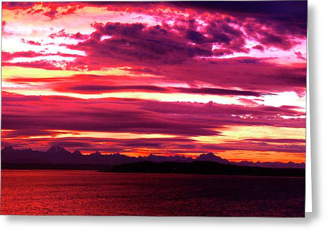 Whidbey Red Sky Morning Greeting Card by Mary Gaines