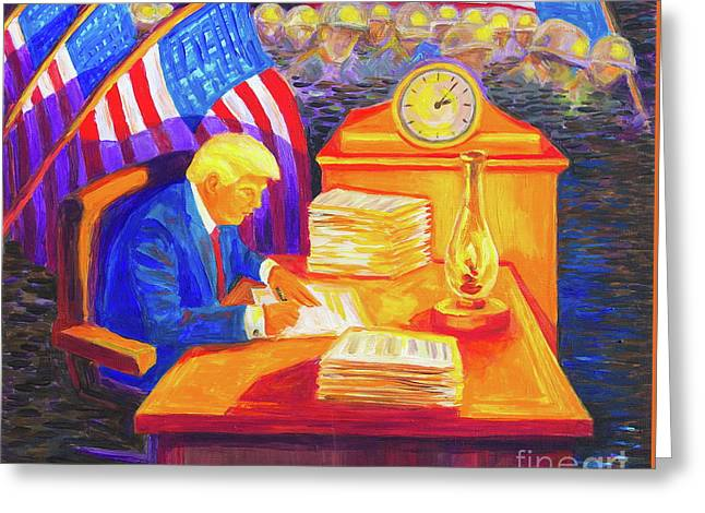 While America Sleeps - President Donald Trump Working At His Desk By Bertram Poole Greeting Card
