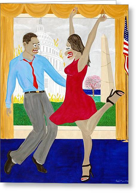 Michelle Obama Paintings Greeting Cards - While America Withers Greeting Card by Sal Marino