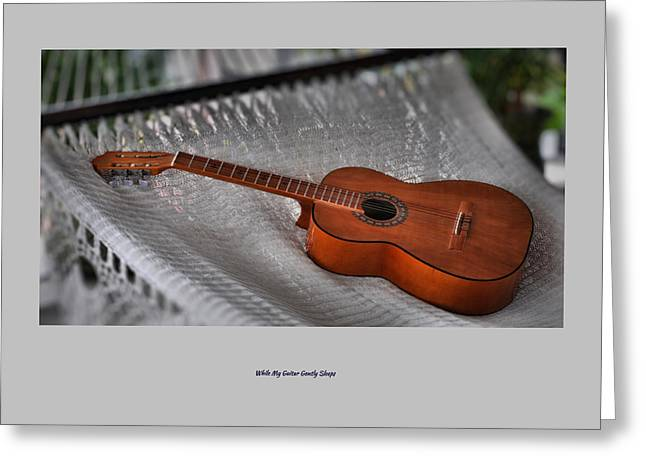 While My Guitar Gently Sleeps Greeting Card by Jim Walls PhotoArtist