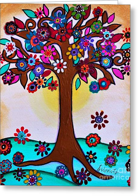 Greeting Card featuring the painting Whimsical Blooming Tree by Pristine Cartera Turkus