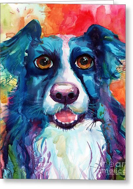 Whimsical Border Collie Dog Portrait Greeting Card by Svetlana Novikova