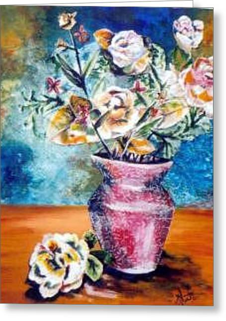 Whimsical Bouquet Greeting Card by Amanda  Sanford