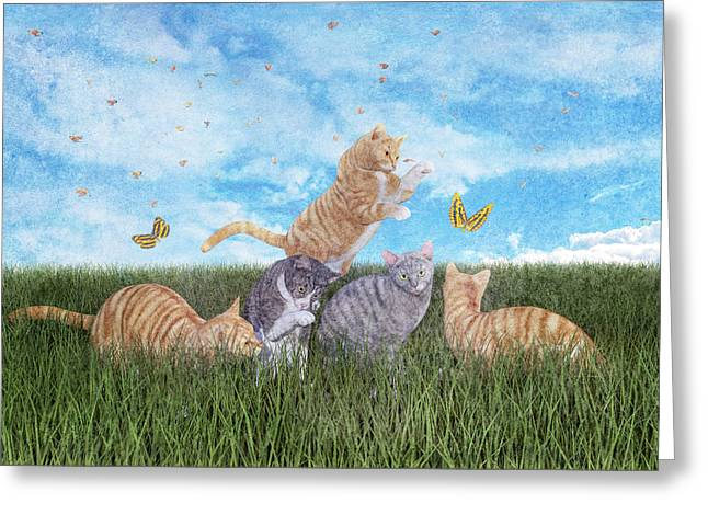 Whimsical Cats Greeting Card by Betsy Knapp