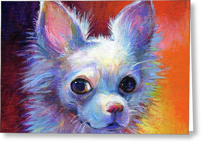Whimsical Chihuahua Dog Painting Greeting Card by Svetlana Novikova