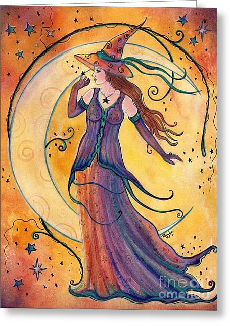 Whimsical Evening Witch Greeting Card