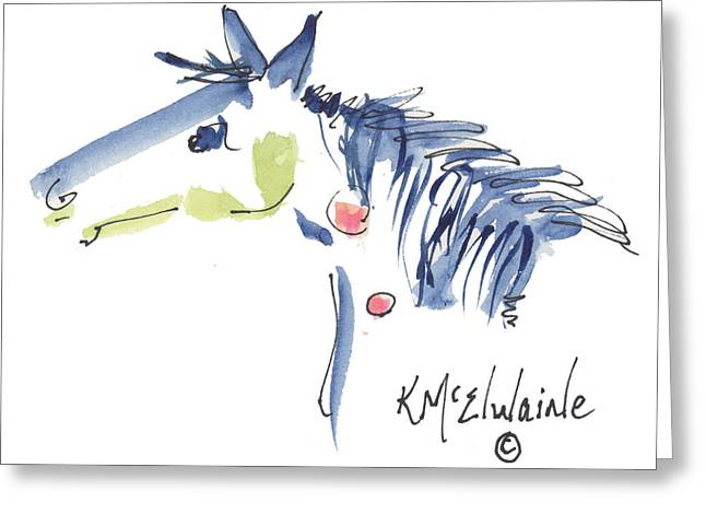 Whimsical Horse Head Watercolor Painting By Kmcelwaine Greeting Card by Kathleen McElwaine