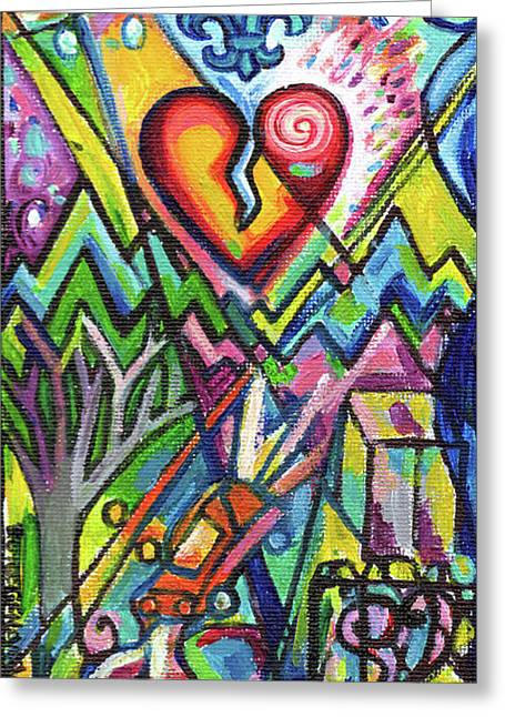 Creve Coeur Streetlight Banners Whimsical Motion 5 Greeting Card by Genevieve Esson