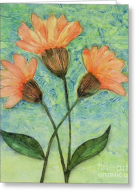 Whimsical Orange Flowers - Greeting Card by Helen Campbell