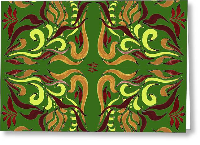 Whimsical Organic Pattern In Yellow And Green I Greeting Card by Irina Sztukowski