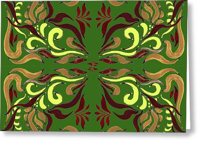 Whimsical Organic Pattern In Yellow And Green II Greeting Card by Irina Sztukowski