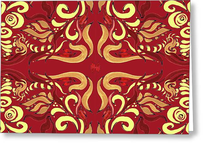 Whimsical Organic Pattern In Yellow And Red I Greeting Card