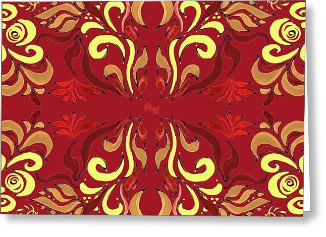 Whimsical Organic Pattern In Yellow And Red II Greeting Card by Irina Sztukowski