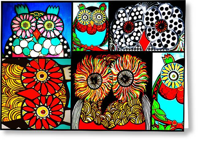 Whimsical Owl Collage Greeting Card