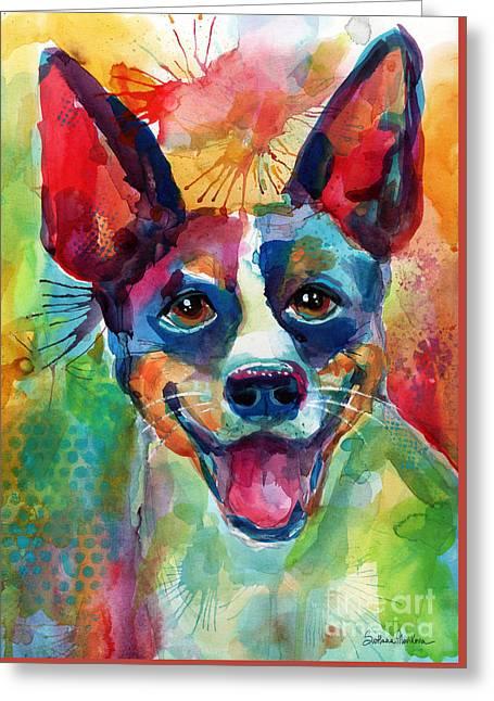 Whimsical Rat Terrier Dog Painting Greeting Card by Svetlana Novikova