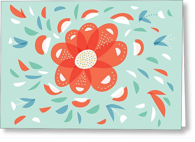 Whimsical Red Flower Greeting Card