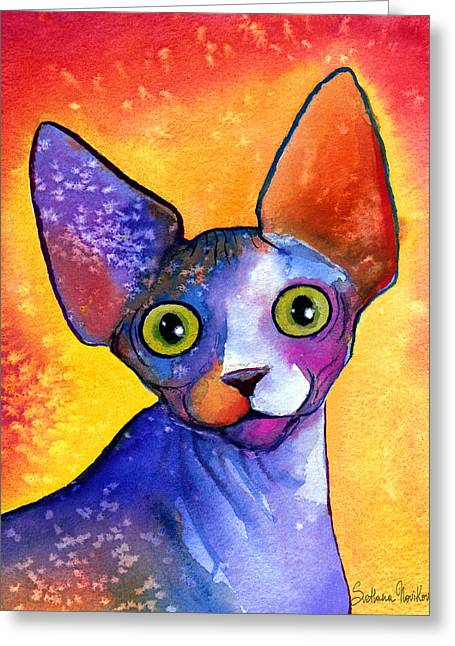 Prints Drawings Greeting Cards - Whimsical Sphynx Cat painting Greeting Card by Svetlana Novikova