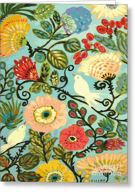 Whimsical Sweet Cottage Garden Greeting Card