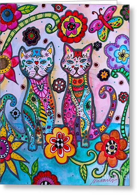 Whimsical Talavera Cats Greeting Card