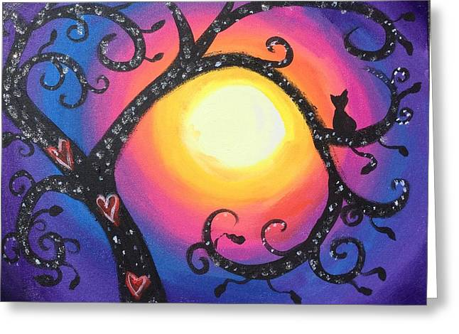 Whimsical Tree At Sunset Greeting Card by Diana Riukas