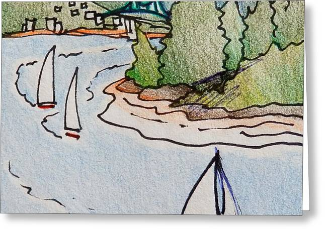 Whimsical Vancouver Yacht Race Greeting Card
