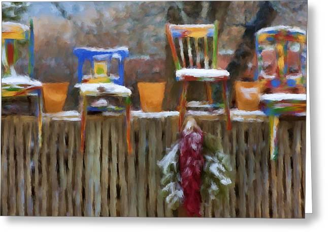 Whimsy In Taos Greeting Card by Renee Skiba