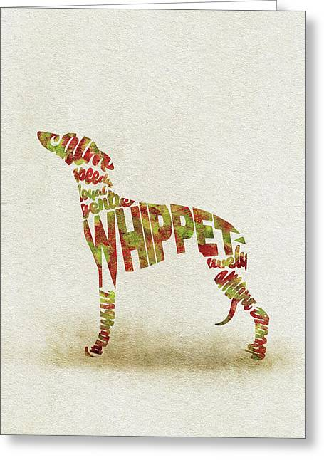 Whippet Watercolor Painting / Typographic Art Greeting Card