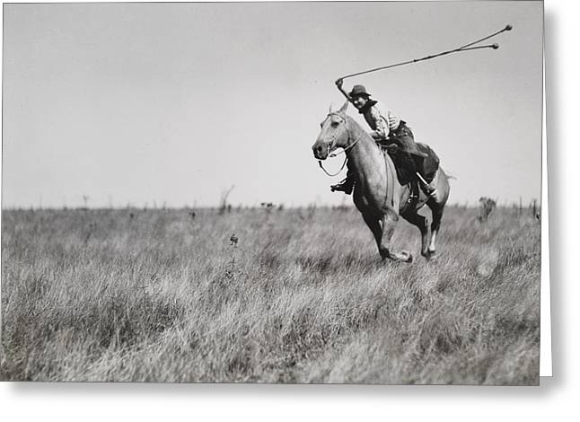 Period Photography Greeting Cards - Whirling His Boleadoras, A Man Charges Greeting Card by Luis Marden