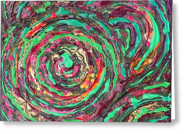 Circle Reliefs Greeting Cards - WHIRLPOOLS IN GREEN Metallic Textured Acrylic Painting Green Red Orange Gold Greeting Card by Wendy Middlemass