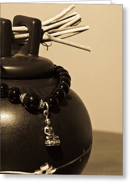 Whishing Jar And Buddha Greeting Card by Edward Myers