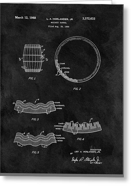 Whiskey Barrel Patent Greeting Card by Dan Sproul