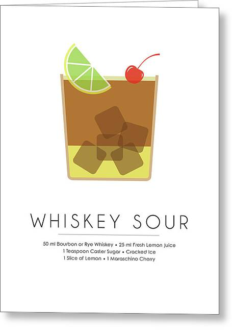 Whiskey Sour Classic Cocktail Minimalist Print Greeting Card