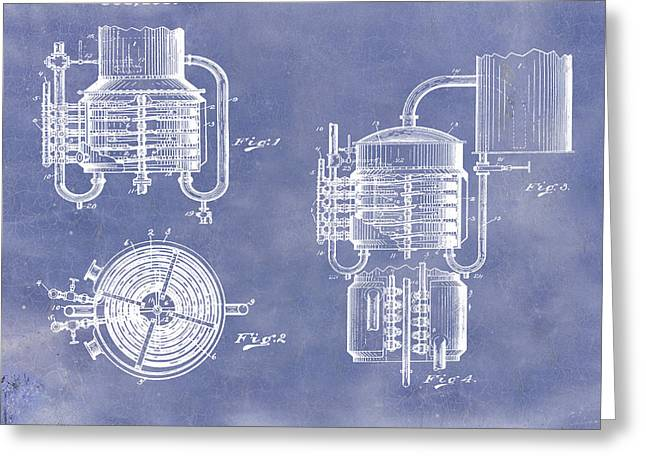 Whiskey Still 1906 In Blue Grunge Greeting Card
