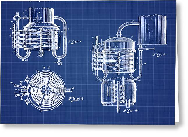 Whiskey Still 1906 In Blue Print Greeting Card